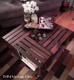 DIY Vintage Chic: Vintage Wine Crate Coffee Table ~ Added some pine cones for the winter