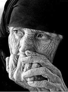 Old face, hands, wrinckles, lines of life, wisdom, in deep thoughts, powerful face, intense eyes, portrait, b/w