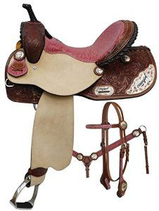 """Amazon.com : 14"""" 15"""" 16"""" Double T Barrel Style Saddle Set with Cowgirl up Engraved Silver. Full Quarter Horse Bars (15"""") : Sports & Outdoors"""