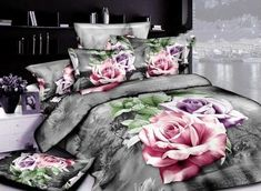 Vibrant and bold these bedding sets are the epitome of unique not to mention beautiful. Ornate Sliver Gray 4 Piece Cotton Bedding Sets with Active Printing Purple Bedding Sets, Cheap Bedding Sets, Cotton Bedding Sets, Best Bedding Sets, Bedding Sets Online, Luxury Bedding Sets, Comforter Sets, Floral Bedding, Unique Bedding