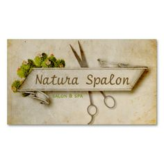 Vintage girly hair stylist scissors natural paper business cards