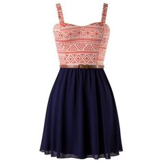Coral and Navy Aztec Print Belted Skater Dress ($29) ❤ liked on Polyvore