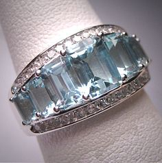 Vintage Aquamarine Diamond Wedding Ring Band White Gold. Wedding ring, engagement ring, anniversary band, white gold, art deco style, gemstone ring, fine jewelry, aquamarine ring, aquamarine and diamond ring, white gold band. A stunning classic piece offered by Aawsomblei Antique jewelry.