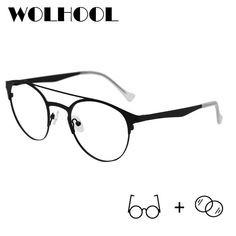 02c15ccdf5c Black Fashion Round Pilot Women Prescription Glasses Classic Design  Transparent Computer Eyeglasses Myopia Optical Galsses Men
