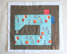 Sewing machine mini-block. Cute panel for a zippered pouch or a sewing themed mini-quilt.
