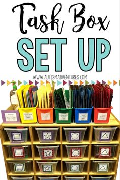 to set up a task box system for any special education class. Great for any TEACCH programHow to set up a task box system for any special education class. Great for any TEACCH program Autism Education, Teaching Special Education, Education Jobs, Education Quotes, Education Galaxy, Education System, Life Skills Classroom, Autism Classroom, Classroom Setup