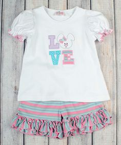 Love this Pink & Mint Bunny Love Top & Shorts - Infant, Toddler & Girls on #zulily! #zulilyfinds