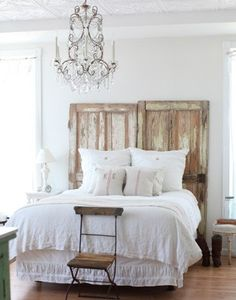 Decorating With White In A Rustic Shabby Chic Bedroom Headboard Door Headboard Diy Shabby Chic Rustic Decor Upcycle Diy Home Decorating With White In A Rustic Shabby Chic Bedroom Home Home Headboard Shabby Chic Chintzy… Home Bedroom, Bedroom Decor, Bedroom Rustic, Bedroom Ideas, Dream Bedroom, Bling Bedroom, Bedroom Furniture, Peaceful Bedroom, Warm Bedroom