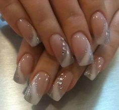 Silver and white nail art