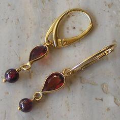 Sterling Silver Vermeil Drop Earrings with pretty Garnet gemstones £26.00