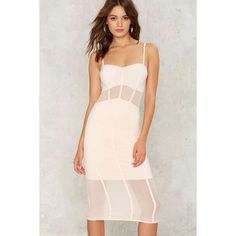 Bring Up the Sheer Bodycon Dress (£32) ❤ liked on Polyvore featuring dresses, pink, transparent dress, light pink dress, sheer bodycon dress, calf length dresses and bodycon dress
