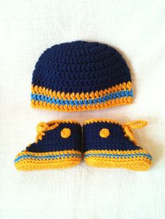 San Diego Chargers - Denver Nuggets - Inspired Converse and Hat set for Preemie, Newborn, 3-6 months- Baby Chucks- hand crochet booties