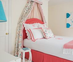 Kerry Hanson Design | Coral & Turquoise | Monogrammed Bedding | Coral Upholstered Headboard