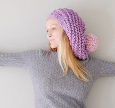 Lavender Slouchy Hat With Pink Large Pom Pom by Accessodium