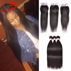 7A Peruvian Virgin Hair With Closure Straight Hair With Closure Great Cheap Bundles With Closures Lot lace Closure With Bundles