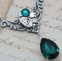 Steampunk Jewelry Necklace Emerald by inspiredbyelizabeth on Etsy, $49.50