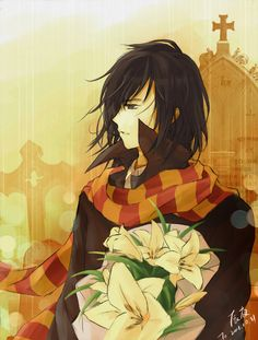 This is Sirius Black from the Harry Potter series by J.K. Rowling drawn anime-style. He looks quite sad and melancholy in this pic. It looks like he's off to visit the grave of his best friend, James Potter, and his wife, Lily Evans