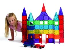 Playmags 100-Piecce Clear Colors Magnetic Tiles Deluxe Building Set with Car and Bag