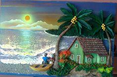Mar Polymer Clay Painting, 3d Painting, Clay Wall Art, Cuban Art, Plaster Art, Art Optical, Tropical Art, Bottle Art, Beautiful Paintings