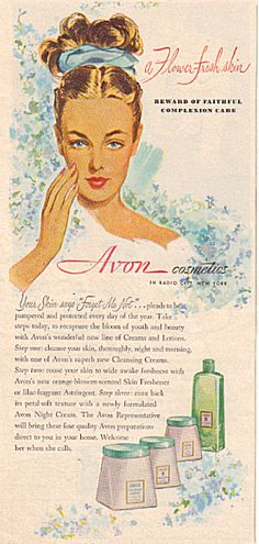 1947 Avon FLOWER FRESH SKIN Cosmetic AD