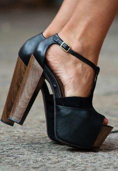 black & wood t-strap