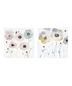 Flower Hand-Embellished Wrapped Canvas - Set of Two