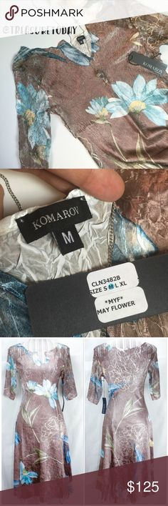 NWT🎉 Komarov Crinkled May Flower Midi Dress Stunning dress! Brand new with tag attached. Looks amazing on and can be worn casually or dress up. Feel free to ask any question, I'm here to help! 🎉Offers welcome 🎉 Bundle 2 or more items and get %10 off instantly💕 all pictures are taken by me. Komarov Dresses