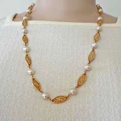 Link necklace faux pearls alternating with goldtone faux filigree links 24 inch #unknown #link