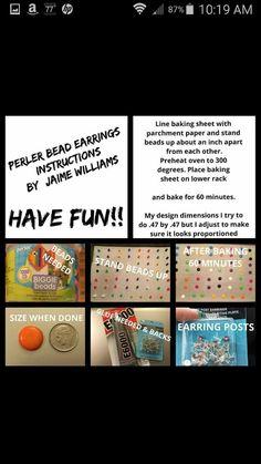 Perler bead earings instructions
