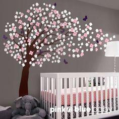 tree decals for nursery | Nursery Wall Decal Art Deco - Romantic Cherry Blossom Tree