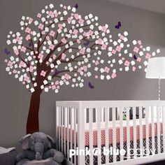 tree decals for nursery | Nursery Wall Decal Art Deco - Romantic Cherry Blossom Tree