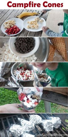 Campfire food smores cones YUmmm actually had this last weekend so amazing!