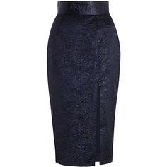Zimmermann Esplanade Crush Pencil Skirt ($420) ❤ liked on Polyvore featuring skirts, pencil skirt, navy blue high waisted skirt, zimmermann, knee length pencil skirt and high waisted skirts
