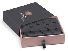 Verona fine stockings - sexy cardboard box design needed! , We need a packaging design for a new online company based in Sydney called 'Verona Stockings'. We will be selling sexy stockings to our customers by ¡ Clothing Packaging, Fashion Packaging, Luxury Packaging, Jewelry Packaging, Brand Packaging, Gift Box Packaging, Packaging Design Box, Packaging Ideas, Cardboard Packaging