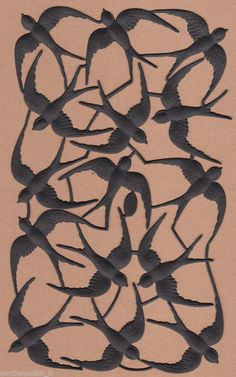 BLACK SPRING WINGS NATURE SWALLOW BIRD COLLAGE CANVAS FLY DRESDEN PAPER GERMAN