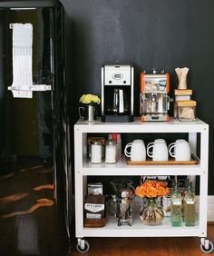 Coffee bar, coffee station.  Use bottles with spouts for syrups