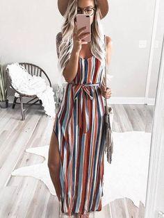 Berrymoda Rainbow Striped High Split Maxi Dress – BerryModa Source by lisafirle outfits dresses Maxi Dress Summer, Dresses For Summer, Summer Jumpsuit, Summer Dress Designs, Mode Outfits, Fashion Outfits, Dress Fashion, Fashion Clothes, Fashion Mode