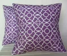 Purple and White patterned floral pillow cover, cushion,decorative throw pillow, decorative pillow, accent pillow, 18x18 pillow
