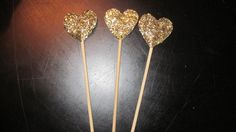 Gold Glitter  Heart Drink Stirrers Cupcake Toppers