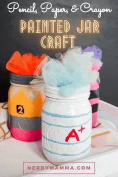 This colorful Pencil, Paper, and Crayon Painted Jar Craft is so adorable and perfect for a Teacher appreciation gift idea, I just can't even! Easy Diy Crafts, Fun Crafts, Crafts For Kids, Making Crayons, Crayon Painting, Mason Jar Projects, Painted Jars, Jar Gifts, Teacher Appreciation Gifts