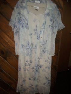 dressbarn womens ShortSleeve Dress with sheer button up jacket Blue Spring sz 12 #dressbarn #DressSuit