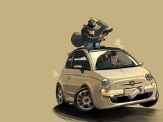 Lupin III - OMG i didn't realize he was driving FIAT!   lol