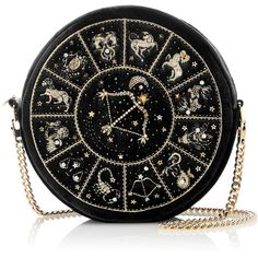 Preciously Paris     Sagittarius Clutch found on Polyvore featuring bags, handbags, clutches, black, purses, velvet clutches, over the shoulder hand bags, handbag purse, long hand bags and chain-strap handbags