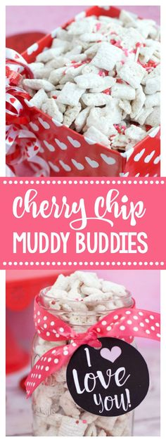 Cherry Chip Muddy Buddies-A Great Valentine's Day Treat!