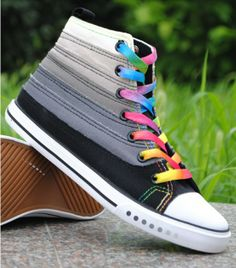 Freeshipping NEW Lady Fashion Casual Shoes Sports Sneaker Canvas shoes Rainbow Designed Leisure Shoes EUR size 35-39 R177-ZZKKO