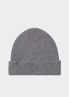 bc1078b590a2d Paul Smith Men s Grey Cashmere-Blend Ribbed Beanie Hat. Grey BeanieBeanie  HatsMerino WoolKnittingHandmadeCashmere ...