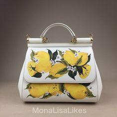 b605c5f5ed3 Amazon.com  DOLCE  amp  GABBANA Miss Sicily Floral Lemon Print White  Dauphine Leather · Lemon PrintMedium BagsDust ...