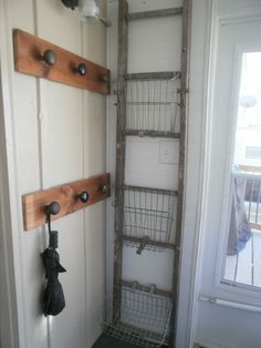 repurposed old ladder and old door knob DIY project