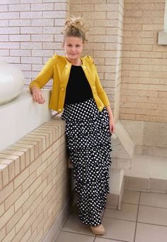 Modest Fashion / Women's Apparel / Weddings, Bridesmaid Dresses, Holidays, Ruffles, Lace, Ribbon! / Polka Dot Ruffle Skirt in black and white