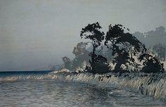 ✨ Oscar Droege (1898-1983) - Schwarze Bäume, Farb-Holzschnitt ::: Black Trees, Colour Woodcut